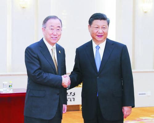 습근평 국가주석 박오아시아포럼 리사장 반기문 회견